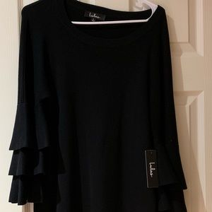 Black flounce sleeve sweater dress!
